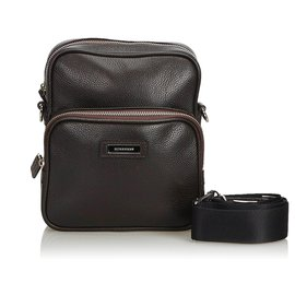 Burberry-Burberry Brown Leather Crossbody Bag-Brown,Dark brown