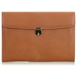 a797d9ceabae Gucci-Gucci Brown Leather Clutch Bag-Brown ...