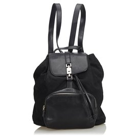 Gucci-Gucci Sac à dos avec cordon de serrage en cuir noir-Noir