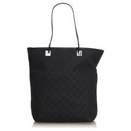 Gucci-Sac cabas en toile noir GG de Gucci-Noir