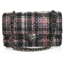 Chanel-Chanel classique 255 Tweed Gris Crème Doublé Rose Flap Bag Sac à main épaule moyenne-Multicolore