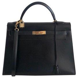 Hermès-Hermes Kelly 32 Sellier Box Noir-Noir
