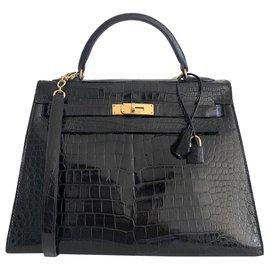 Hermès-Hermes Kelly 33 Sellier Crocodile Porosus Noir-Noir