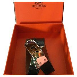 """Hermès-Bracelet Hermès """"Kelly"""" Triple tour en Plaqué Palladié et Cuir de Veau Noir-Noir"""