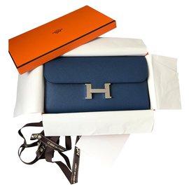Hermès-Portefeuille Constance-Blue