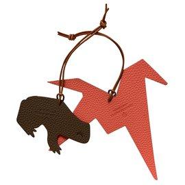 Hermès-Bag charms-Dark red,Cognac