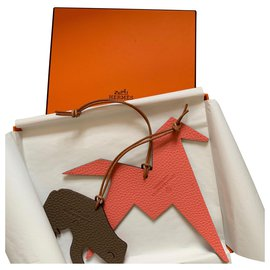 Hermès-Bag charms-Dark red,Cognac