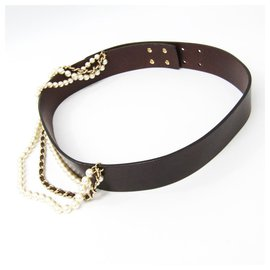 Chanel-Ceinture en cuir marron et perles Chanel-Marron