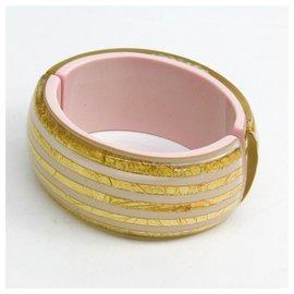 Chanel-Bracelet Chanel en émail doré-Blanc,Doré