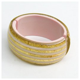 Chanel-Chanel Gold Enamel Bangle-White,Golden