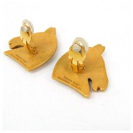 Hermès-Boucles d'oreilles clip Hermes Gold Cheval-Doré