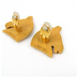 Hermès-Hermes Gold Cheval Clip-On Earrings-Golden