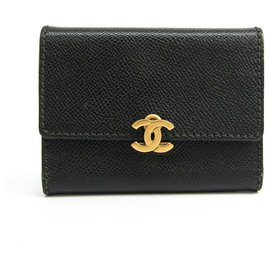 Chanel-Chanel Black Leather Tri-fold Wallet-Black