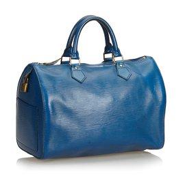 Louis Vuitton-Louis Vuitton Blue Epi Speedy 35-Bleu