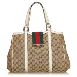Gucci-Gucci Brown GG Jacquard nouveau sac cabas Web pour femmes-Marron,Multicolore