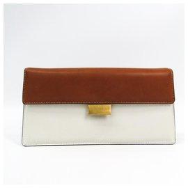 Céline-Celine White Bicolor Clutch-Brown,White,Light brown