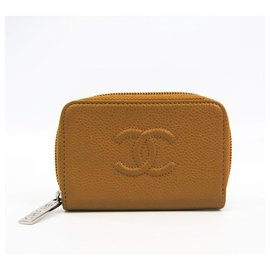 Chanel-Chanel Brown Caviar Compact Card Case-Brown,Light brown