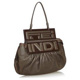 Fendi-Sac à main Fendi en cuir marron convertible-Marron