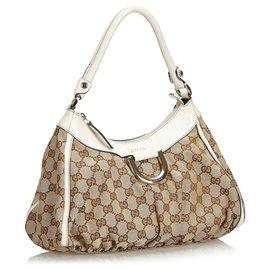 Gucci-Gucci Brown GG Jacquard Abbey Sac à main avec anneau en D-Marron,Blanc,Beige