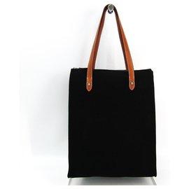 Hermès-Hermes Black Cabas Mira-Brown,Black,Dark brown