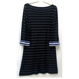 Chanel-Robe Chanel-Noir,Blanc,Bleu