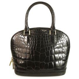 Louis Vuitton-Sac à bandoulière Alma BB Mini en cuir de crocodile brillant noir. Sangle-Noir