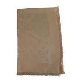 Louis Vuitton-Capuccino monogramme Louis Vuitton brun clair Laine de soie jacquard tissée ton sur ton en laine de soie M75872-Marron