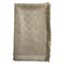 Louis Vuitton-Louis Vuitton monogram Greige Châle jacquard en soie tissée ton sur ton M71336-Beige