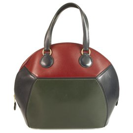 "Hermès-Beautiful & Rare Hermes ""Ile De Shiki"" Tri-color Box Calf Leather Vintage Bag-Multiple colors"