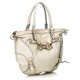 Gucci-Gucci Cartable en cuir blanc-Blanc