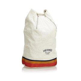 Hermès-Sac à dos Hermes en coton blanc Cavalier-Blanc,Multicolore,Écru