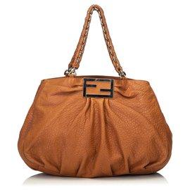 Fendi-Fendi Grand sac en cuir brun Mia-Marron