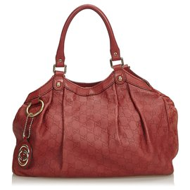 Gucci-Gucci Sukey Cuir Rouge Guccissima-Rouge