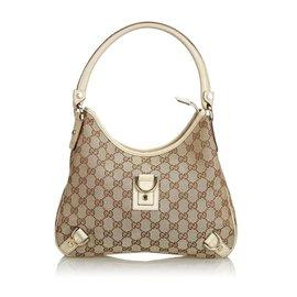Gucci-Gucci Brown GG Jacquard Abbey Sac à bandoulière-Marron,Beige