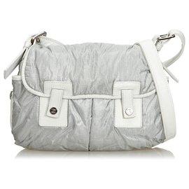 Céline-Celine Gray Nylon Crossbody Bag-White,Grey