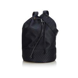 Yves Saint Laurent-YSL Black Nylon Drawstring Bucket Bag-Black