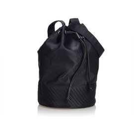 Yves Saint Laurent-YSL - Schwarze Nylon-Kordelzugbeutel-Schwarz