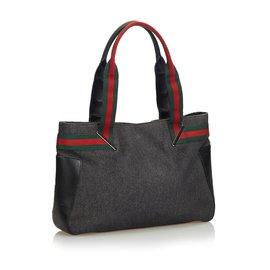 Gucci-Gucci Black Web Denim Sac à main-Noir,Multicolore