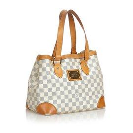 Louis Vuitton-Louis Vuitton White Damier Azur Hampstead PM-Blanc