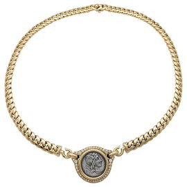 "Bulgari-Collier Bulgari, ""Monete"" en or jaune, pièce antique, diamants.-Autre"
