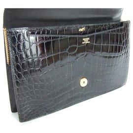 Hermès-Hermès Sac à main Lydie Crocodile Noir de SPA New Strap-Noir