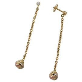 """Cartier-Paire de boucles d'oreilles Cartier """"Baby Trinity"""" en or de trois couleurs, diamant.-Autre"""