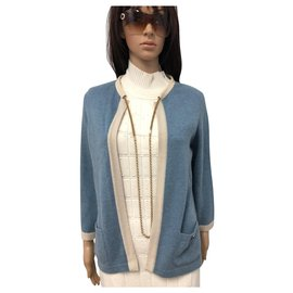 Chanel-CHANEL Blue Cardigan with Gold Chain Gr.44 Cashmere Logo-Light blue