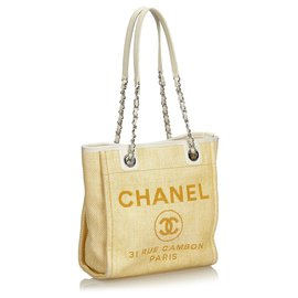 Chanel-cabas Chanel Brown Mini Deauville-Marron,Beige