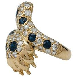 inconnue-Bague griffe en or jaune diamants et saphirs.-Autre