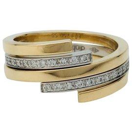 """Dinh Van-Bague Dinh Van modèle """"Spirale"""" en or jaune, blanc et diamants.-Autre"""