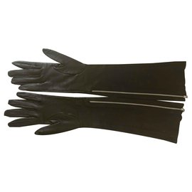 Chanel-Long Lambskin Gloves-Black
