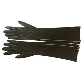 Chanel-Longs gants en peau d'agneau-Noir