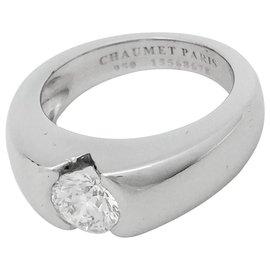 """Chaumet-Bague Chaumet """"Fidélité"""" en platine, diamant 0,78 carat.-Autre"""