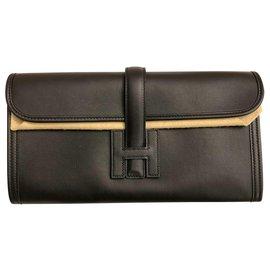 Hermès-Pochette en cuir Hermes Jige 29-Noir
